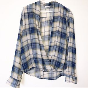 SOPHIE RUE Blue Plaid Sheer Cross Body Top L